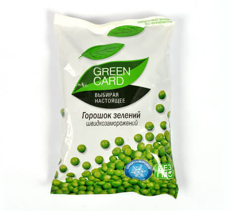 «Green peas» Deep frozen vegetables and fruits